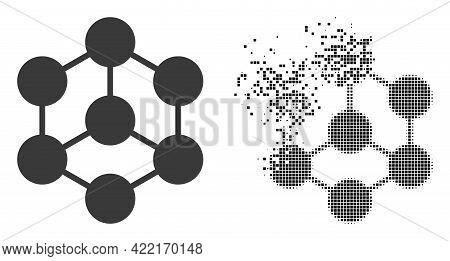 Dispersed Dotted Blockchain Nodes Vector Icon With Destruction Effect, And Original Vector Image. Pi