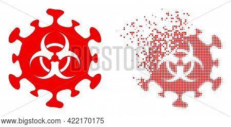 Dispersed Dot Biohazard Coronavirus Vector Icon With Wind Effect, And Original Vector Image. Pixel D
