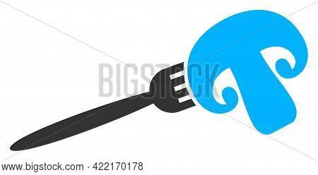Champignon Fork Vector Icon. A Flat Illustration Design Of Champignon Fork Icon On A White Backgroun