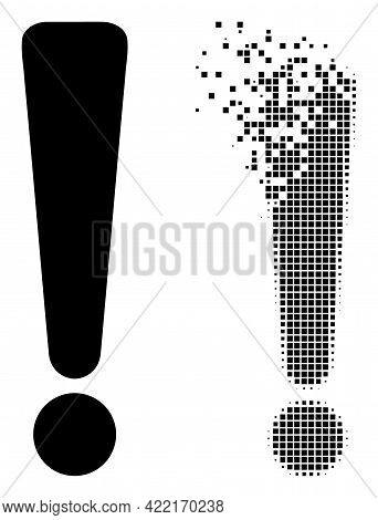 Dissolved Dotted Exclamation Sign Vector Icon With Destruction Effect, And Original Vector Image. Pi