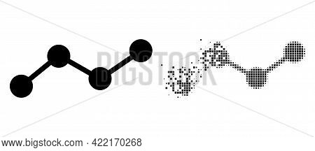 Dispersed Dotted Chart Vector Icon With Destruction Effect, And Original Vector Image. Pixel Dissipa