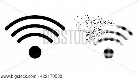 Dispersed Pixelated Wi-fi Source Vector Icon With Wind Effect, And Original Vector Image. Pixel Eros