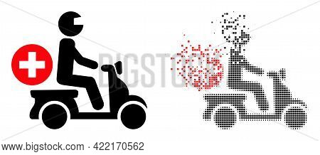 Dispersed Dot Doctor Motorbike Vector Icon With Destruction Effect, And Original Vector Image. Pixel