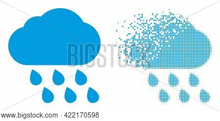 Dispersed Pixelated Rain Cloud Vector Icon With Destruction Effect, And Original Vector Image. Pixel