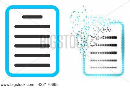 Dissolved Dot Text Page Vector Icon With Wind Effect, And Original Vector Image. Pixel Dissolving Ef