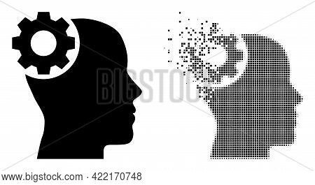 Dispersed Dot Brain Gear Vector Icon With Destruction Effect, And Original Vector Image. Pixel Fragm