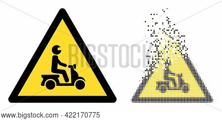 Dissolved Dotted Motorbike Danger Vector Icon With Destruction Effect, And Original Vector Image. Pi