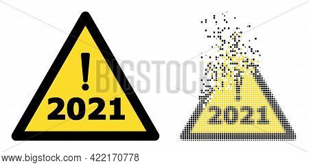 Dispersed Pixelated 2021 Year Warning Vector Icon With Wind Effect, And Original Vector Image. Pixel