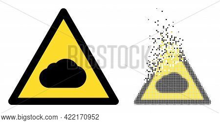 Dissolved Pixelated Fog Warning Vector Icon With Wind Effect, And Original Vector Image. Pixel Degra