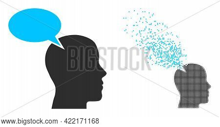Dispersed Pixelated Imagination Cloud Vector Icon With Destruction Effect, And Original Vector Image