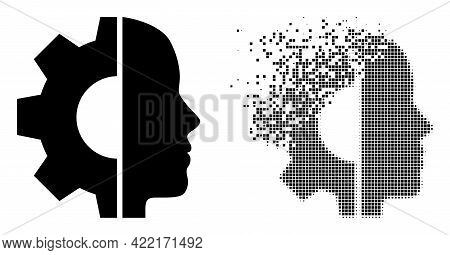 Dispersed Pixelated Cyborg Head Vector Icon With Destruction Effect, And Original Vector Image. Pixe