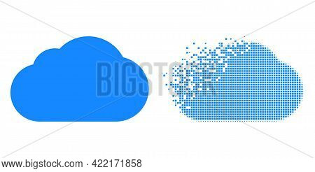 Dissolved Dotted Cloud Vector Icon With Wind Effect, And Original Vector Image. Pixel Erosion Effect