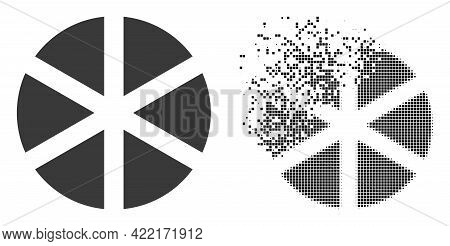 Dispersed Dot Pizza Vector Icon With Wind Effect, And Original Vector Image. Pixel Destruction Effec