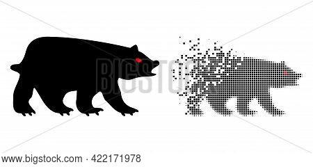 Fractured Dot Bear Vector Icon With Destruction Effect, And Original Vector Image. Pixel Destruction