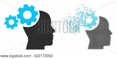 Dispersed Dot Mind Gears Vector Icon With Destruction Effect, And Original Vector Image. Pixel Defra