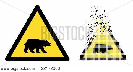 Dispersed Dotted Bear Warning Vector Icon With Destruction Effect, And Original Vector Image. Pixel