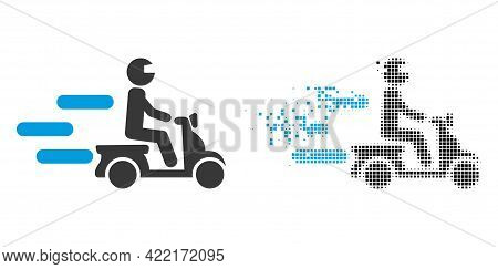 Dispersed Dot Fast Motorbike Vector Icon With Destruction Effect, And Original Vector Image. Pixel D
