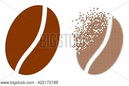 Dissolved Pixelated Coffee Bean Vector Icon With Destruction Effect, And Original Vector Image. Pixe
