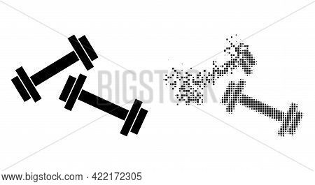 Fractured Dotted Barbells Vector Icon With Destruction Effect, And Original Vector Image. Pixel Disa