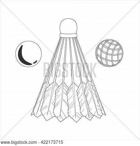 Shuttlecock And Balls For Big Tennis Or Badminton. Hand Drawn Vector Illustration Of Spots Equipment
