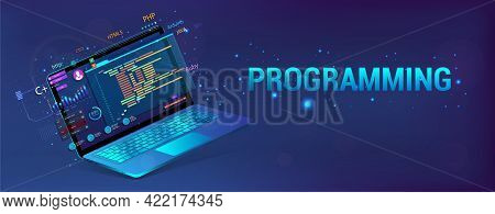 Banner Software Development. Programming, Web Site And App. Laptop With Code And Ui, Ux Interface. D