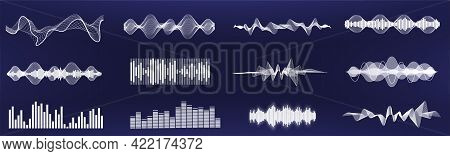 A Set Of Custom Sound Waves. Frequency Audio Waveform, Music Wave In One Color, Easy To Recolor. Tun