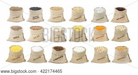 The Set Of Cereals And Spices In Sacks Isolated On A White Background. Collection Of Cereals And Fla