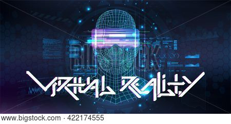 Virtual Reality Cyberspace With Human Or Ai Hologram. 3d Polygon Head Of A Man With Virtual Reality