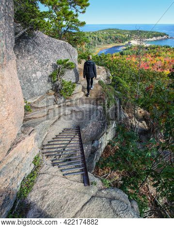 Female Hiker Walking On Ledge Enjoying View Of Water From Beehive Trail In Acadia National Park