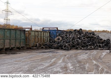 A Big Pile Of Tires In A Landfill. Tires Are Specially Selected From Garbage For Separate Recycling.
