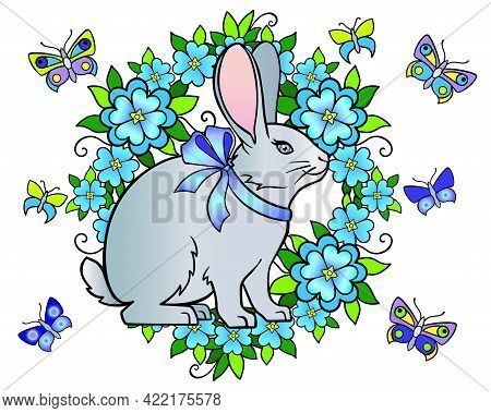 Cute Rabbit Surrounded By Flowers And Butterflies - Spring Easter Vector Full Color Illustration. A