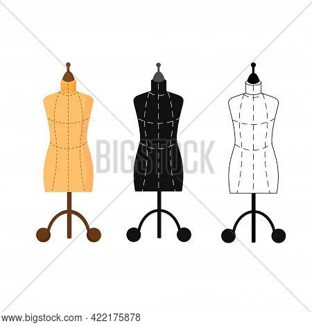 Set Of Three Mannequins. Sewing Workshop. Card Template For Use In The Garment Industry And Clothing