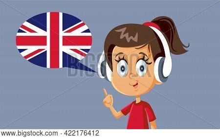 Little Girl Wearing Headphones Learning English Pronunciation