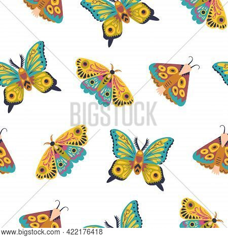 Cute Seamless Pattern With Butterflies And Moths. Doodle Insect In Minimalistic Style. Hand Drawn Il
