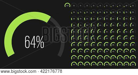 Set Of Circular Sector Arc Percentage Diagrams Meters Progress Bar From 0 To 100 Ready-to-use For We
