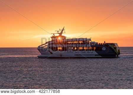 Formentera, Spain: 2021 May 31: Boat From Transmapi Island Of Formentera In The Summer Of 2021 With
