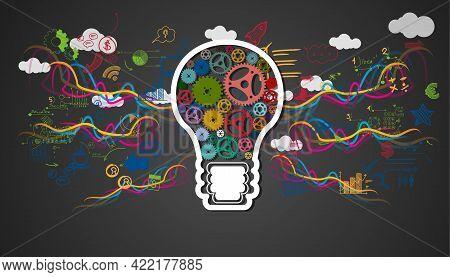 Light Bulbs Cog Idea. Plan Think Analyze Creative Startup Business. Illustration Creativity Modern C