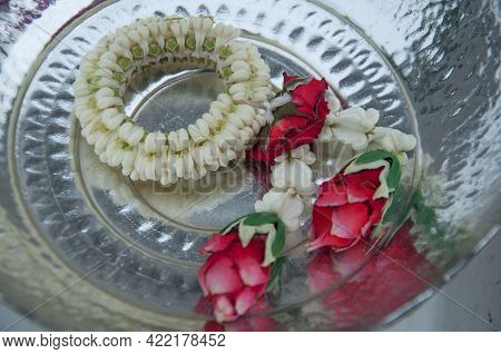Flower Garland In Tray. Thai Garland For Respect.
