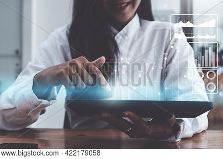 Fund Investor Analyzing Stock Market Report Making Audit Financial Dashboard With Business Intellige
