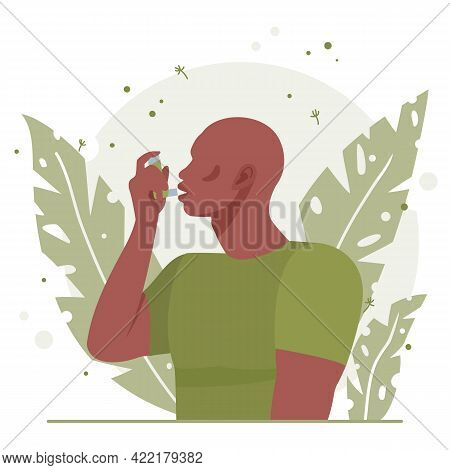 Young Black African American Man Uses An Asthma Inhaler Against An Allergic Attack. Concept Of World