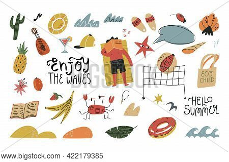 Summer Vacation, Pastime, Sports, Characters And Lettering Set. Shells, Waves, Sand. Man Having Sun