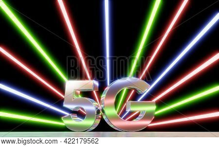 5G mobile network technology background. Internet of next generation. Neon futuristic light . 3d illustration rendering . 5G online communication network wireless systems connection concept . fluorescent neon