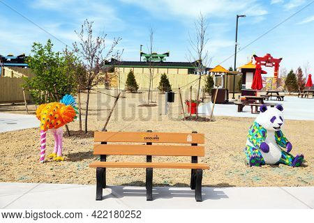 Goshen, Ny - April 24 2021: Colorful Animals Built Out Of Bricks At Legoland New York Resort