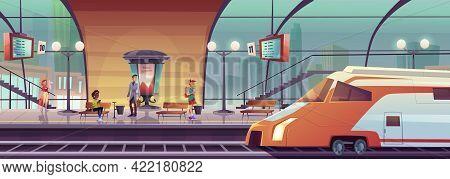 Railway Station With People Waiting Train On Platform. Vector Cartoon Interior Of City Subway Waitin