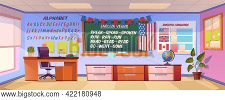 English Language Classroom Interior, Empty School Or College Class Stuff Blackboard With Irregular V