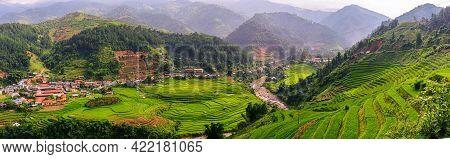 Rice Fields On Terraced Beautiful Shape Of Mu Cang Chai, Yenbai, Vietnam. Rice Fields Prepare The Ha