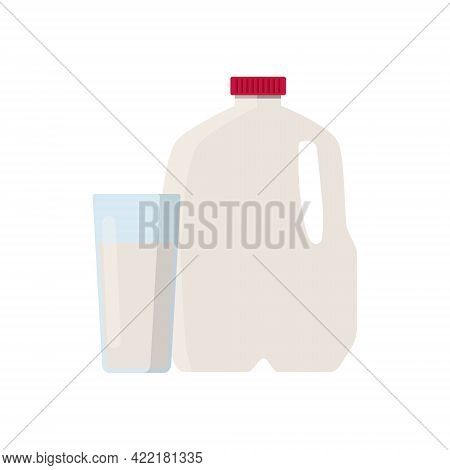 Flat Vector Illustration Of Milk In Plastic Gallon Jug With Red Cap. And Glass Of Milk. Isolated On