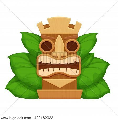Wooden Tiki Mask, Hawaiian Symbol In Cartoon Style, Textured And Detailed Isolated On White Backgrou