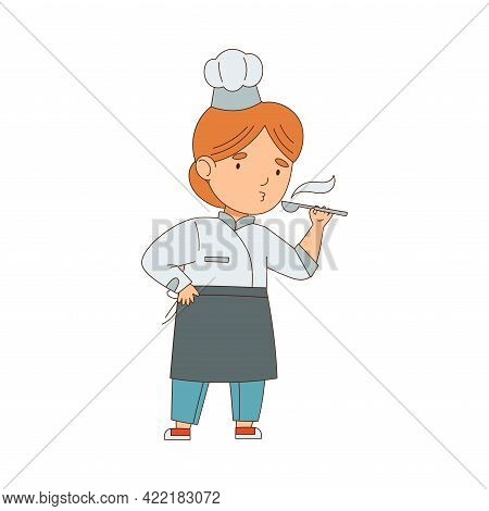 Little Girl Chef In White Toque And Jacket Tasting Food With Spoon Engaged In Meal Preparation Vecto