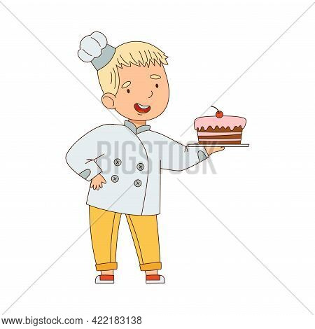 Little Boy Chef In White Toque And Jacket Holding Plate With Appetizing Cake Vector Illustration